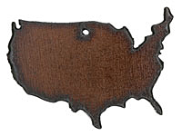 The Lipstick Ranch Rusted Iron United States Pendant 60x44mm