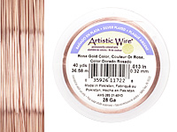 Artistic Wire Silver Plated Rose Gold 28 gauge, 40 yards