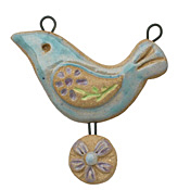 Gaea Ceramic Atlantis Peace Bird Daisy Egg Pendant