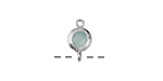 Green Opal Crystal in Silver (plated) Textured Bezel Link 7x12mm