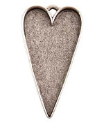 Nunn Design Antique Silver (plated) Grande Heart Bezel Pendant 54x29mm