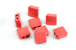 Coral Pink Enamel 2-Hole Tile Square Bead 8mm