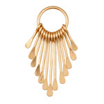 Zola Elements Matte Gold Finish Long Teardrop Graduated Paddle Set on Ring 16x46mm