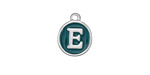 "Peacock Green Enamel Silver Finish Initial Coin Charm ""E"" 12x14mm"