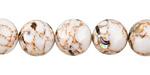 White Mosaic Shell Round 12mm