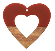 Walnut Wood & Rustic Red Resin Open Heart Focal 50mm