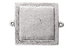 Nunn Design Antique Silver (plated) Raised Tag Small Square Connector 38x30mm