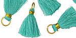 Turquoise w/ Gold Binding & Jump Ring Thread Tassel 18mm
