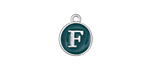"Peacock Green Enamel Silver Finish Initial Coin Charm ""F"" 12x14mm"