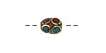 Tibetan Brass Barrel Bead w/ Coral & Turquoise Mosaic 10-11x7-8mm
