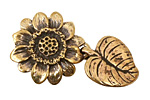 Green Girl Bronze Sunflower Clasp 26x44mm