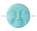 Czech Glass Matte Turquoise Moon Face Button 32mm