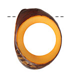 Tagua Nut Gold Open Slice (side drilled) 33-45x24-36mm