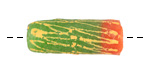 African Hand-Painted in Yellow on Green & Coral Powder Glass (Krobo) Bead 25-31x11-12mm