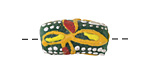 African Hand-Painted Green Powder Glass (Krobo) Bead 18-25x10mm