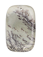 Sage Artistic Stone Rectangle Pendant 35x55mm