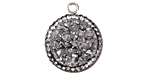 Metallic Silver Druzy w/ Pave Wrap Coin Focal Set in Silver (plated) 20x22mm