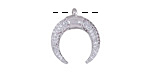 Silver Finish Pave CZ Crescent Focal 17x19mm