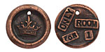 "The Lipstick Ranch Antique Copper (plated) Pewter ""Only Room For 1"" Crown Wax Seal Charm 20mm"