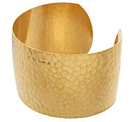 Brass Hammered Round Cuff 60x38mm