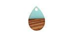 Walnut Wood & Sea Green Resin Teardrop Focal 11x17mm
