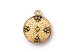 TierraCast Antique Gold (plated) Beaded Hammertone Charm 16x19mm