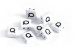 "White Enamel 2-Hole Tile Square Bead w/ Letter ""Q"" 8mm"