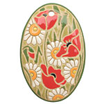 Golem Studio Daisies & Poppies Carved Ceramic Oval Pendant 33x50mm