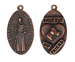 "The Lipstick Ranch Antique Copper (plated) Pewter ""Protect My Friend"" St. Francis Charm 18x35mm"