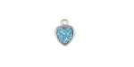 Metallic Aqua Crystal Druzy Heart Charm in Silver Finish Bezel 8x10mm