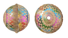 Hand Painted Weathered Metallic Rainbow Zigzags Leather Round Bead 26-29mm