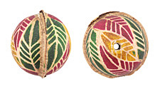 Hand Painted Violet, Green & Yellow Palm Leaves Leather Round Bead 26-29mm