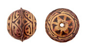 Hand Painted Natural Antique Brown Mandala Leather Round Bead 20-22mm