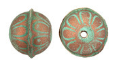 Hand Painted Patina & Copper Flower Leather Round Bead 20-22mm