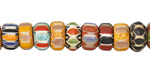Nepalese Cane Glass Sunset Disc Beads 5-8x11-14mm