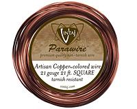 Vintaj Artisan Copper Square Parawire 21 gauge, 21 feet