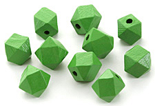 Kelly Green Wood Faceted Nugget 10mm