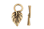Antique Brass (plated) Simple Leaf Toggle Clasp 26x13mm