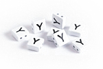 "White Enamel 2-Hole Tile Square Bead w/ Letter ""Y"" 8mm"