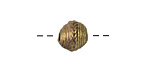 African Brass Corrugated w/ Roped Band (large hole) Round 8-10x11-12mm