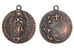 The Lipstick Ranch Antique Copper (plated) Pewter Our Lady Guadalupe Medallion Charm 28x24mm