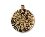 TierraCast Antique Gold (plated) Eightfold Path Pendant 26x32mm