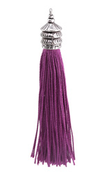 Zola Elements Violet Thread Tassel w/ Antique Silver Finish Pagoda Tassel Cap 12x90mm