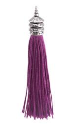 Zola Elements Violet Thread Tassel w/ Antique Silver Finish Pagoda Tassel Cap 12x90mm