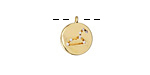 Gold (plated) w/ Crystals Leo Constellation Charm 11x13mm
