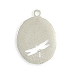 Vintaj Antique Sterling Silver (plated) Organic Oval Dragonfly Blank 26x35mm