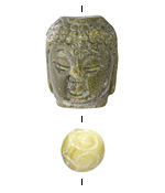 Dark Green Soochow Jade Carved Buddha Head 21-22x28mm & Round 14mm
