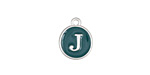 "Peacock Green Enamel Silver Finish Initial Coin Charm ""J"" 12x14mm"
