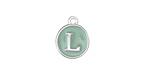 "Sweet Mint Enamel Silver Finish Initial Coin Charm ""L"" 12x14mm"