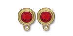 TierraCast Gold (plated) Stepped Bezel Ear Post w/ Light Siam Ruby Crystal 12x17mm